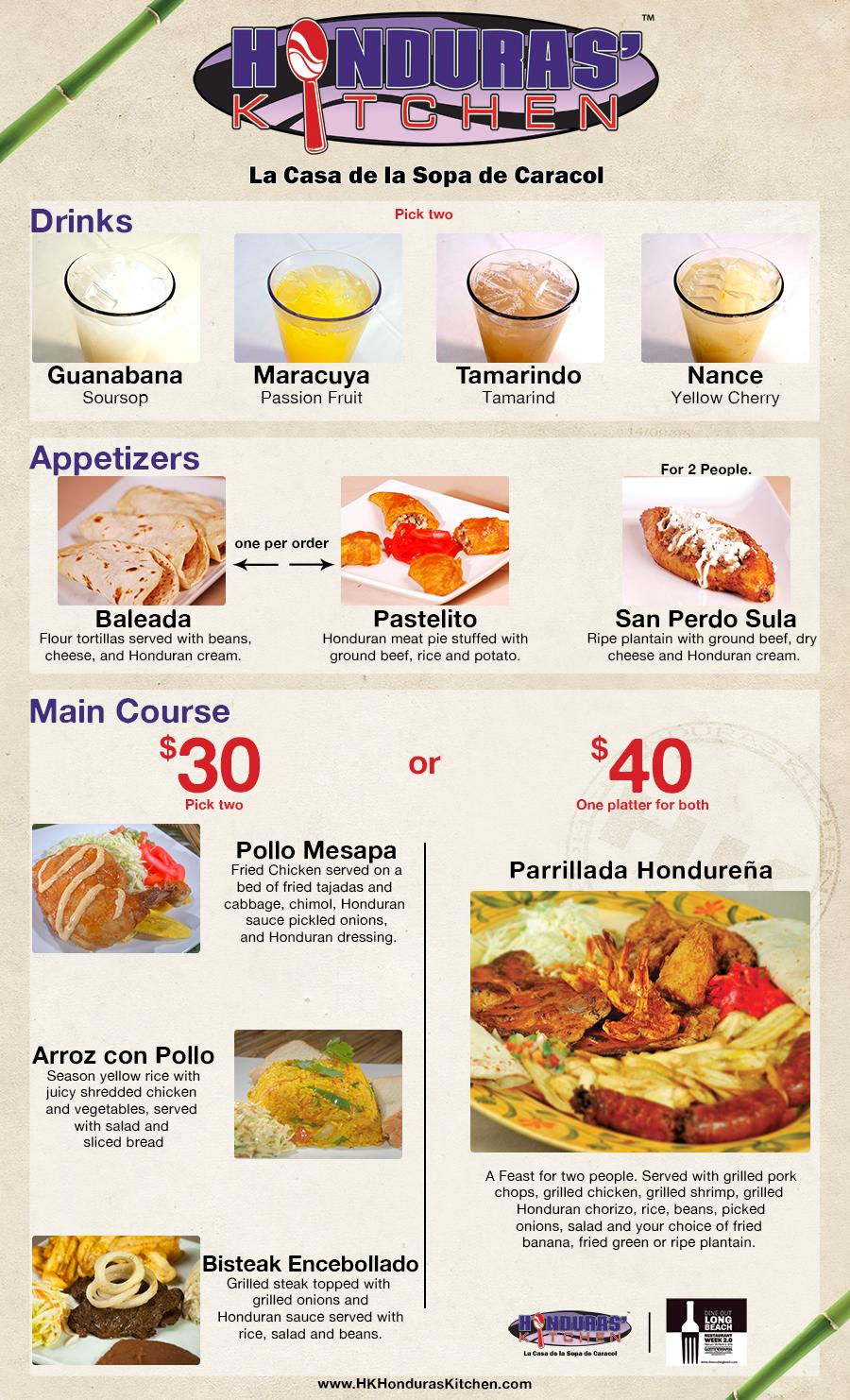 Menu De Honduras Kitchen